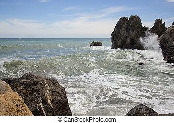 Restless Black Sea in Gurzuf, Crimea