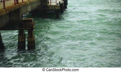 Restless water near a concrete pier slow motion - Beautiful...