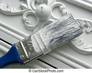 Restoration - cupboard in white color and romantic design