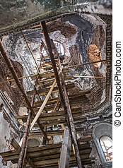 Restoration of the interior of an old orthodox church