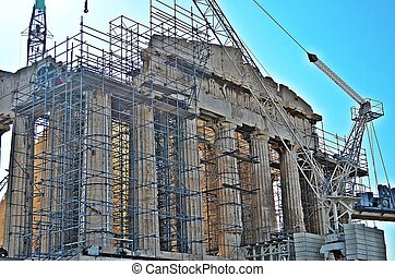 View of the extensive restoration efforts underway at the Parthenon