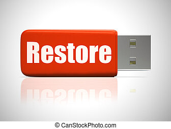 Restore backup concept meaning retrieval of data and information. From a hard drive or online - 3d illustration