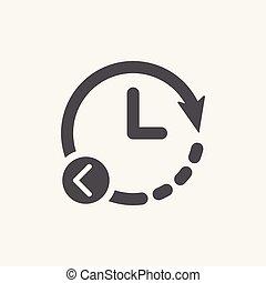 Restore Clock vector icon. Backward arrow left