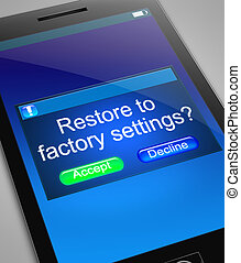 Restore to factory settings. - Illustration depicting a ...
