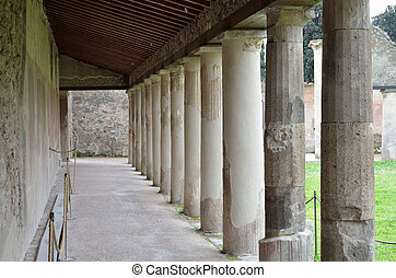Restored building in the ancient Pompeii