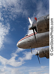 Old DC-3 propeller aircraft, beautifully restored and preserved