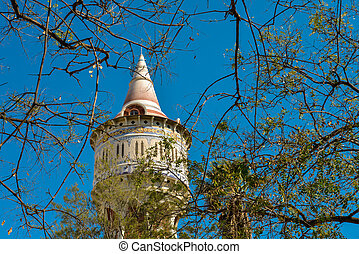 Restored water tower in a public park in Barcelona district...