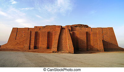 Restored ziggurat in ancient Ur, sumerian temple, Iraq -...