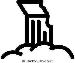 restos, icono, contorno, símbolo, aislado, vector.,...