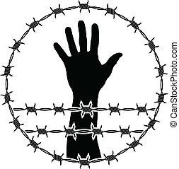 restraint of liberty. stencil. vector illustration