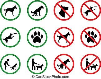restricción, silueta, permiso, prohibido, parque, perro, vector, signage, perros, signs.