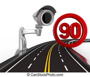 restricción, speed., imagen, aislado, señal, 3d