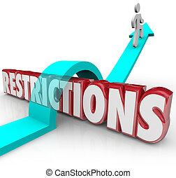 restricciones, palabra, flecha, el saltar encima, reglas,...