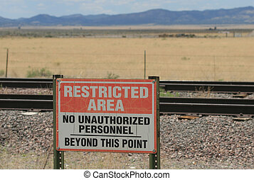 Restricted Area - Sign at Very Large Array which warns...