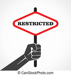 restricted word banner hold in hand