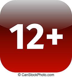 restriction, âge, 12+, -, blanc rouge, icône
