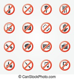restriction, ensemble, interdit, ou, icônes