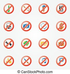 Restriction icons or symbols set