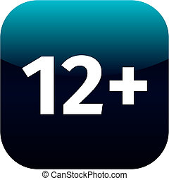 Restriction on age 12+ - blue and white phone app or web icon. 12 plus