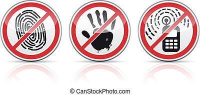restrictive, icônes, ensemble, signes
