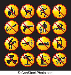 Set of modern restrictive and warning signs, icons, pictograms