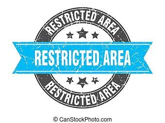 restringido, estampilla, señal, redondo, etiqueta, ribbon., ...