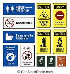 restroom, トイレ, 通知, 警告 印