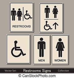 restroom, ベクトル, コレクション, サイン