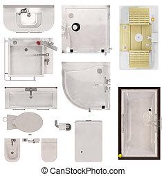 Restroom Fixtures - Set of Restroom Fixtures Top View...