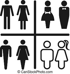 Restroom icon set isolated on white.