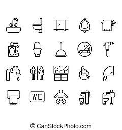 Restroom icon set. Vector illustration