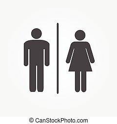 restroom, illustratie, iconen