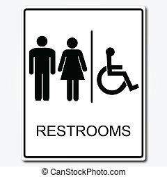 restroom, ilustração, sinal