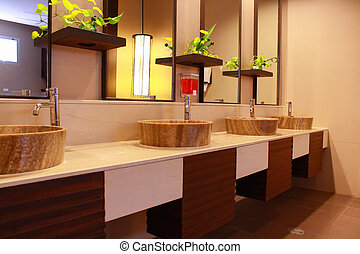 restroom interior, it is a public restroom in a tourist ...