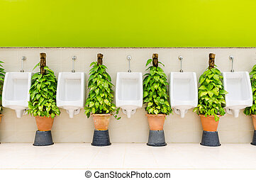 restroom interior with white urinal row and ornamental plants