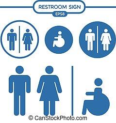 Restroom male female cripple sign