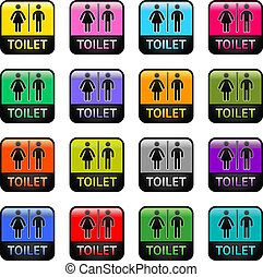 Restroom - set color symbols