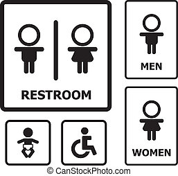 Restroom sign set