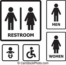 Restroom sign set