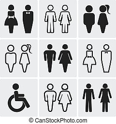 Restroom silhouettes icon set.   Vector illustration
