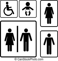 restroom, sinais