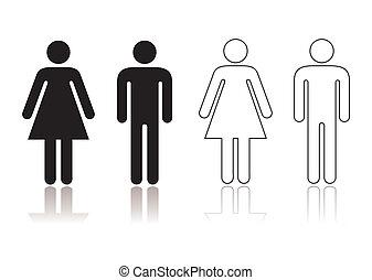 Restroom symbol - Black and white toilet restroom symbol...