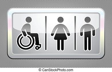 Restroom symbol, gray button - Restroom symbols, button,...