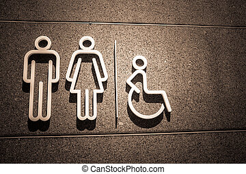 Restroom symbol on mable wall in Dark style