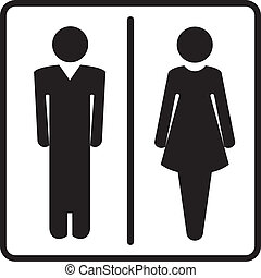 Man and woman signs for toilet, restroom, washroom, lavatory isolated on white background