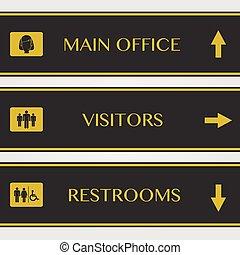restrooms, kantoor, illustratie, meldingsbord