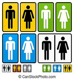 restrooms, mannelijke , vrouwlijk, meldingsbord