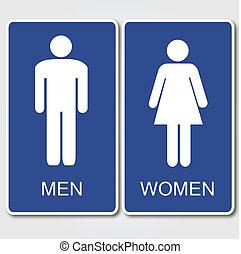 Restrooms Sign - Men's and Women's Restroom Sign