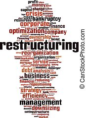 Restructuring word cloud concept. Vector illustration