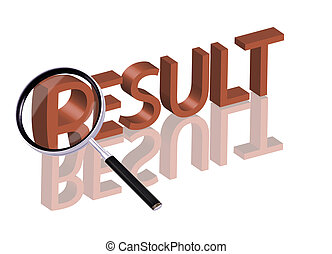 Magnifying glass enlarging part of red 3D word with reflection